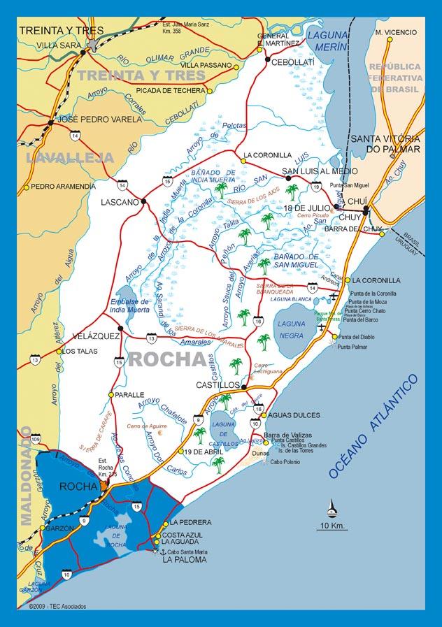Karte - Strassenkarte- Landkarte- Rocha Uruguay